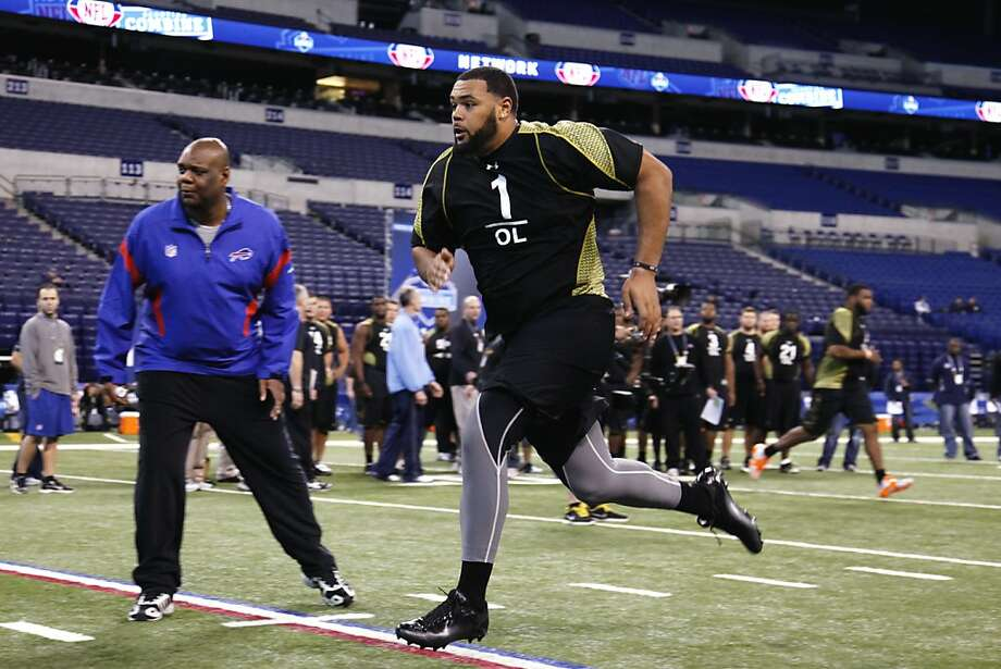 INDIANAPOLIS, IN - FEBRUARY 25: Offensive lineman Mike Adams of Ohio State participates in a drill during the 2012 NFL Combine at Lucas Oil Stadium on February 25, 2012 in Indianapolis, Indiana. (Photo by Joe Robbins/Getty Images)  INDIANAPOLIS, IN - FEBRUARY 25: Offensive lineman Mike Adams of Ohio State participates in a drill during the 2012 NFL Combine at Lucas Oil Stadium on February 25, 2012 in Indianapolis, Indiana. (Photo by Joe Robbins/Getty Images) Photo: Joe Robbins, Getty Images
