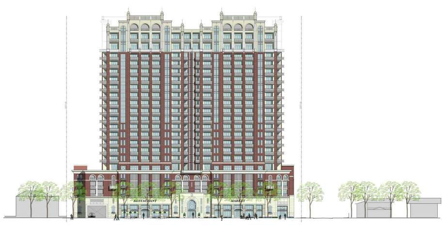 This is the high-rise planned for 1717 Bissonnet in an early rendering. / handout email