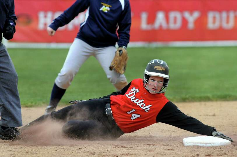 Guilderland's Taylor Ten Eyck (14) slides safely into second during their softball game against Aver