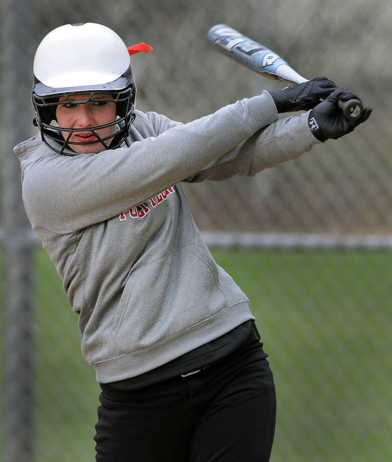 Guilderland's Morgan Ten Eyck warms up at bat during their softball game against Averill Park on Friday, April 27, 2012, at Guilderland High in Guilderland, N.Y. (Cindy Schultz / Times Union) Photo: Cindy Schultz / 00017394A