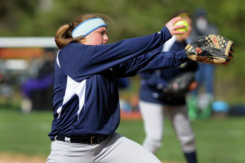 Averill Park's Caraline Wood winds up the pitch during their softball game against Guilderland on Fr