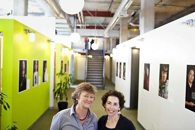 "Martha Ryan, founder and director of the Homeless Prenatal Program, left, and Marsha Guggenheim, photographer of the exhibit, ""Facing Forward,"" at the Homeless Prenatal Program in San Francisco, Calif., Thursday, April 26, 2012. The exhibit depicts 28 women who came from homelessness and despair, and in a yearlong course at the program learned how to become social workers.   Jason Henry/Special to The Chronicle Photo: Jason Henry, Special To The Chronicle"