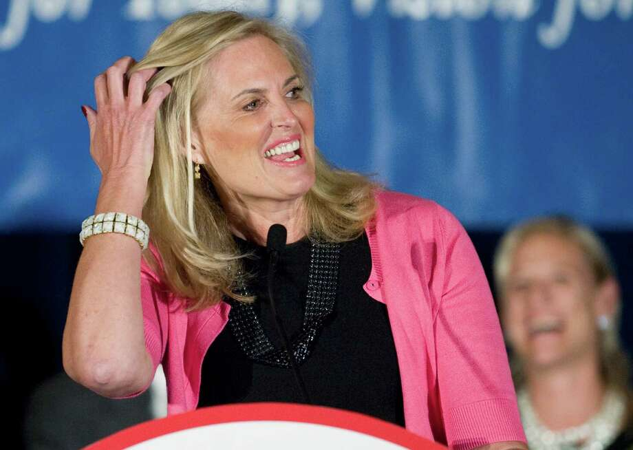 Ann Romney, wife of Republican presidential candidate, former Massachusetts Gov. Mitt Romney, speaks at the Connecuticut GOP Prescott Bush Awards dinner in Stamford, Conn.,  on the eve of Connecticut's primary Monday, April 23, 2012. Ann Romney told the packed crowd she believes her husband Mitt Romney has the right message to win the Democratic leaning state.   (AP Photo/Jessica Hill) Photo: Jessica Hill, Associated Press / AP2012
