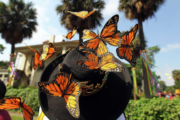 A woman in a mariposa butterfly hat stops to take a photo of a historic home during the Fiesta King William Fair Parade, Saturday, April 28, 2012. (JENNIFER WHITNEY) Photo: JENNIFER WHITNEY, Jennifer Whitney/ Special To The Express-News / special to the Express-News