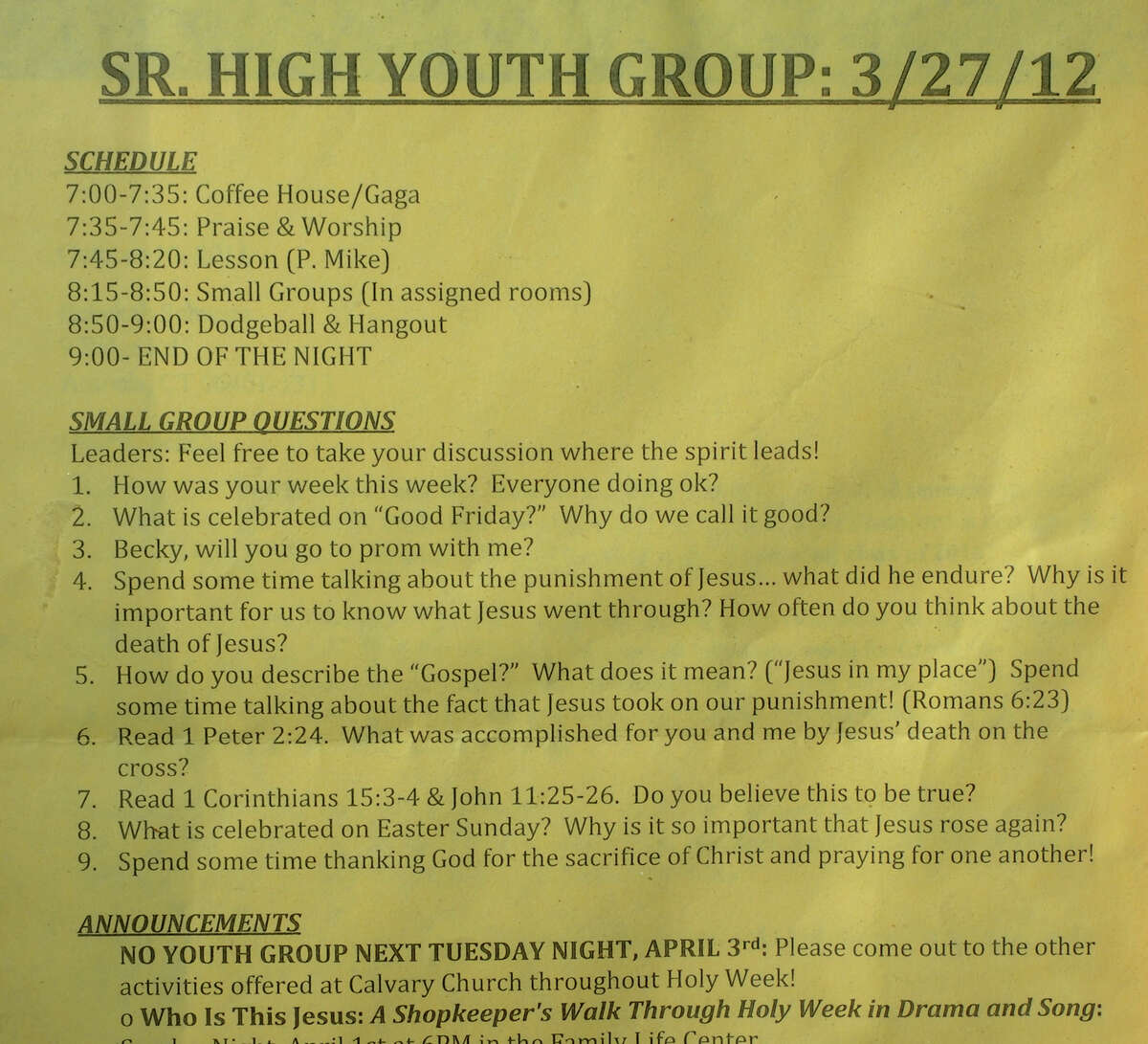 This is the rules list from Becky Schwarz high school youth group seen at her home in Ansonia, Conn. on Thursday April 19, 2012. Becky's friend Ben Huebner had rule #3 printed asking her to the prom as a surprise.