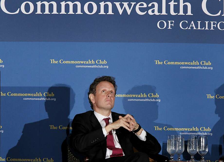 Secretary Geithner pondered a question during the question and answer period. US Secretary of the Treasury Timothy Geithner discussed the economy and the recession during an appearance at a Commonwealth Club held at the Mark Hopkins Hotel in San Francisco, Calif. Thursday April 26, 2012. Photo: Brant Ward, The Chronicle