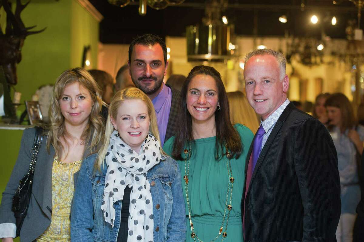 From left, Lisa Aldridge, actress Melissa Joan Hart, Ronald Scinto, Michele Roofthooft and Mark Candido at the Antiques & Artisans Center's Spring Renewal Event on April 4.