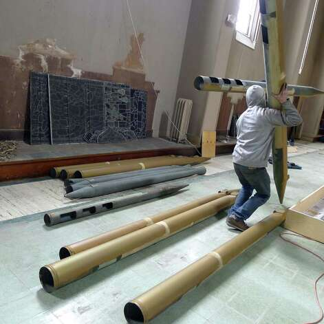 Church organ parts being salvaged from St. Patrick's Church in Watervliet N.Y. Friday April 27, 2012. (Michael P. Farrell/Times Union) Photo: Michael P. Farrell / 10017465A