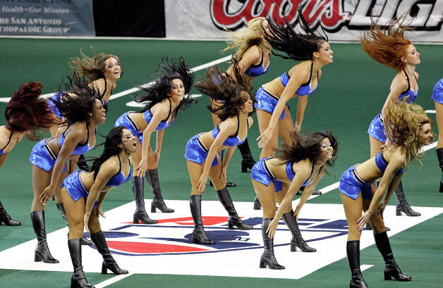 Members of the San Antonio Talons' Sky Dancers perform during a timeout Saturday April 28, 2012 at the Alamodome. Photo: EDWARD A. ORNELAS, Express-News / © SAN ANTONIO EXPRESS-NEWS (NFS)