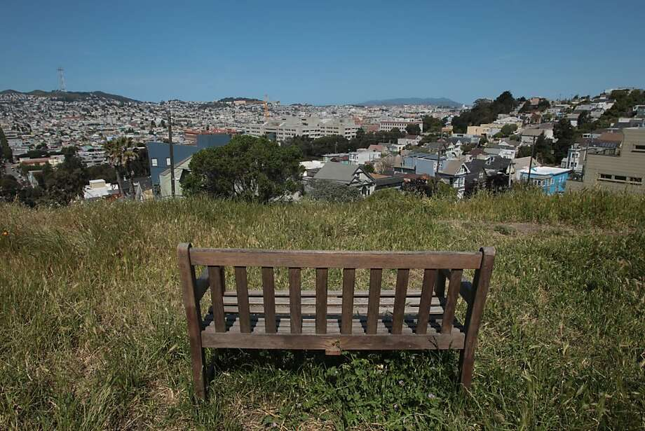 A bench sits in the Starr King Open Space with a view of the city on Friday, April 27, 2012 in San Francisco. Photo: Mathew Sumner, Special To The Chronicle