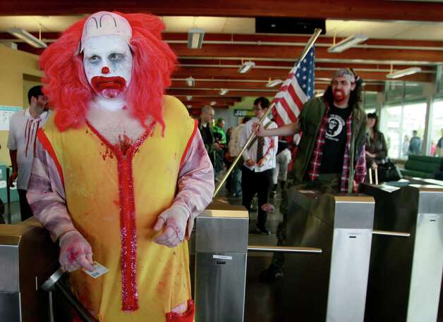 A zombie clown boards the Bremerton ferry. Photo: SOFIA JARAMILLO / SEATTLEPI.COM