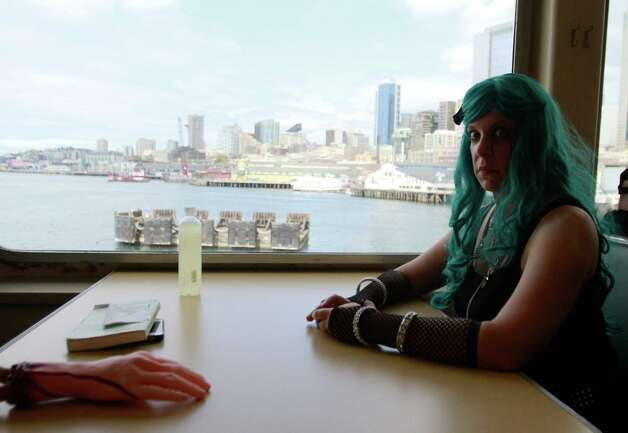 Jennifer Costales, a Zombies on a Ferry participant, rides the Bremerton ferry. Photo: SOFIA JARAMILLO / SEATTLEPI.COM
