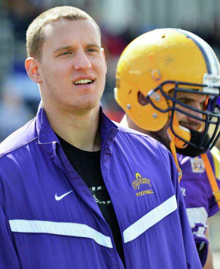 Former UAlbany quarterback Dan Di Lella on the sidelines during UAlbany's annual spring scrimmage in Albany Saturday April 28, 2012.   (John Carl D'Annibale / Times Union) Photo: John Carl D'Annibale / 10017441A
