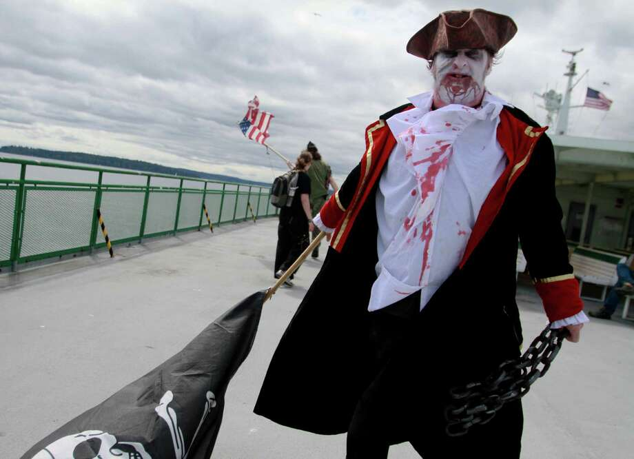 A Zombies on a Ferry  participant rides the Bremerton ferry. Photo: SOFIA JARAMILLO / SEATTLEPI.COM