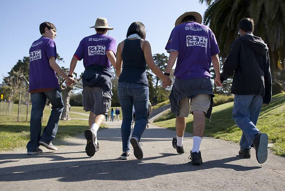 Supporters of Best Buddies participate in a fundraising 5k Friendship Walk in San Francisco's Golden Gate Park Saturday morning, April 28, 2012.  Best Buddies is a nonprofit organization dedicated to establishing a global volunteer movement that creates opportunities for one-to-one friendships, integrated employment and leadership development for people with intellectual and developmental disabilities. Photo: Erin Lubin, Special To The Chronicle