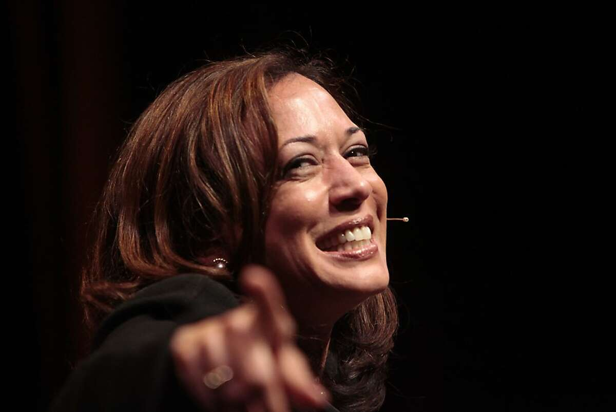 """Attorney General Kamala Harris gestures to the audience during The Forum: Conversations at YBCA """"An Evening with Kamala Harris"""" at Yerba Buena Center for the Arts on Wednesday, April 18, 2012 in San Francisco, Calif. The Forum: Conversations at YBCA is a new quarterly series of moderated conversations with policy makers, activists, cultural figures, and innovators of national prominence."""