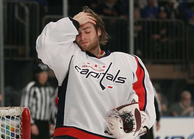 NEW YORK, NY - APRIL 28:  Braden Holtby #70 of the Washington Capitals reacts in the second period of Game One of the Eastern Conference Semifinals against the New York Rangers during the 2012 NHL Stanley Cup Playoffs at Madison Square Garden on April 28, 2012 in New York City. Photo: Bruce Bennett, Getty Images