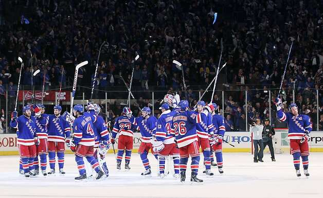 The New York Rangers celebrate their 3 to 1 win over the Washington Capitals in Game One of the Eastern Conference Semifinals during the 2012 NHL Stanley Cup Playoffs at Madison Square Garden on April 28, 2012 in New York City. Photo: Bruce Bennett, Getty Images