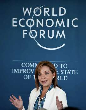 Mexican presidential candidate for the National Action Party, Josefina Vazquez Mota, delivers a speech during the World Economic Forum in the Pacific resort of Puerto Vallarta, Mexico, on April, 17, 2012. The World Economic Forum on Latin America, with 900 participants from 70 countries, is seeking to boost trade within a region that enjoys relative economic prosperity amid worldwide uncertainty. AFP PHOTO/RONALDO SCHEMIDT Photo: RONALDO SCHEMIDT, Getty Images / 2012 AFP