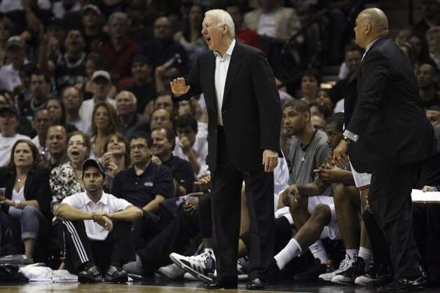 Spurs coach Gregg Popovich gets a technical foul during the second half of game one of the Western Conference first round at the AT&T Center, Sunday, April 29, 2012. The Spurs beat the Utah Jazz, 106-91, to lead the series 1-0. Jerry Lara/San Antonio Express-News (Jerry Lara / San Antonio Express-News)