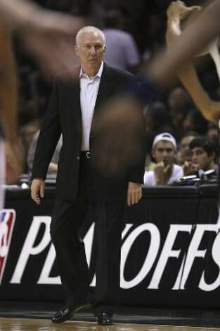 Spurs coach Gregg Popovich looks on as the take on the  Utah Jazz in game one of the Western Conference first round at the AT&T Center, Sunday, April 29, 2012. Jerry Lara/San Antonio Express-News (Jerry Lara / San Antonio Express-News)