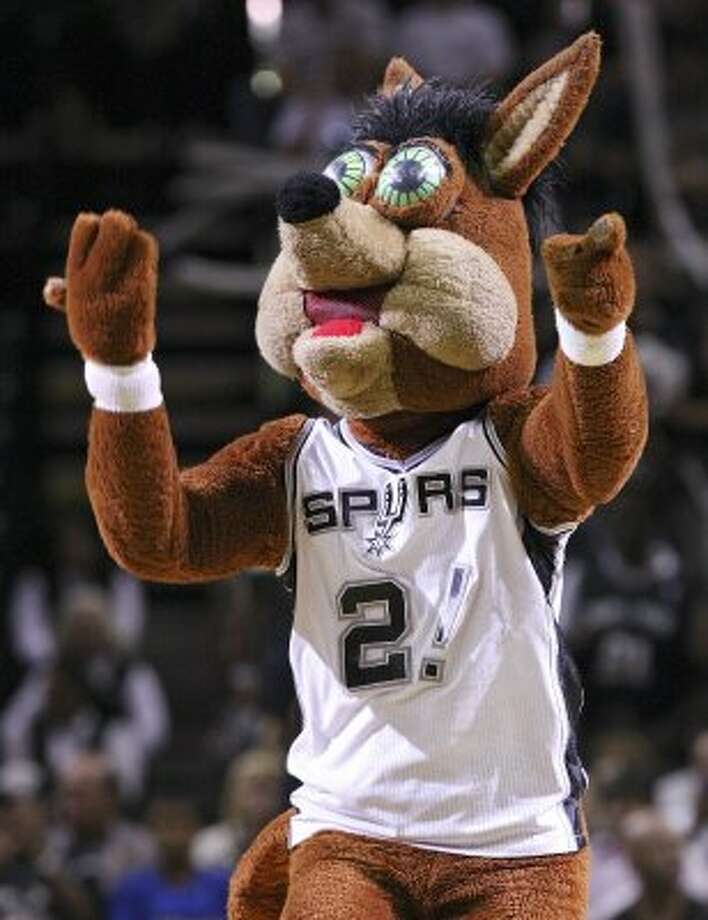 FOR SPORTS - The San Antonio Spurs Coyote performs during second half action of Game 1 of the Western Conference first round with the Utah Jazz Sunday April 29, 2012 at the AT&T Center. The Spurs won 106-91.  (PHOTO BY EDWARD A. ORNELAS/SAN ANTONIO EXPRESS-NEWS) (EDWARD A. ORNELAS / SAN ANTONIO EXPRESS-NEWS)