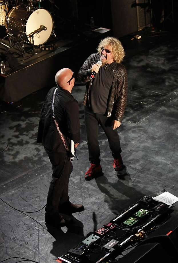 Joe Satriani (left) and Sammy Hagar pay tribute to Bay Area guitarist Ronnie Montrose, who died at his Brisbane home in March. Photo: Jill Schneider, The Chronicle