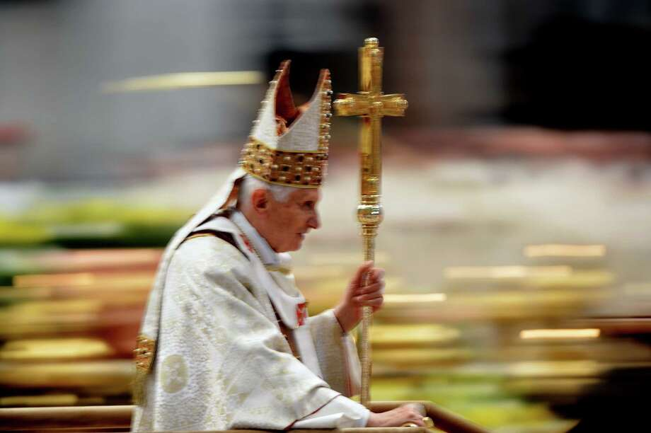 Pope Benedict XVI leaves after celebrating the mass during the priest ordination ceremony on April 29, 2012 in St Peter's basilica at the Vatican. Photo: VINCENZO PINTO, AFP/Getty Images / AFP