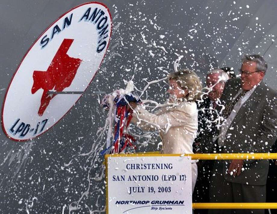 Sen. Kay Bailey Hutchison christens the U.S. Navy's newest amphibious transport dock ship San Antonio (LPD-17), Saturday, July 19, 2003, at Northrop Grumman Ship Systems in New Orleans. (Bill Glenn / The Associated Press)