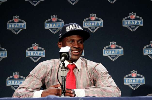 LSU cornerback Morris Claiborne speaks to reporters after being selected as the sixth pick overall by the Dallas Cowboys in the first round of the NFL football draft at Radio City Music Hall, Thursday, April 26, 2012, in New York. Photo: AP