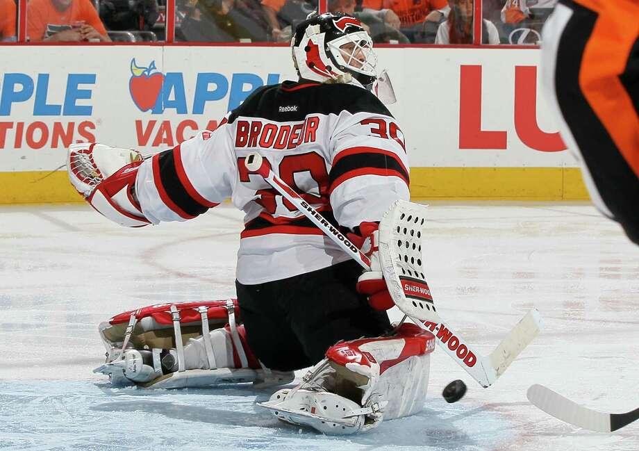 c6328fffacb PHILADELPHIA, PA - APRIL 29: Martin Brodeur #30 of the New Jersey Devils