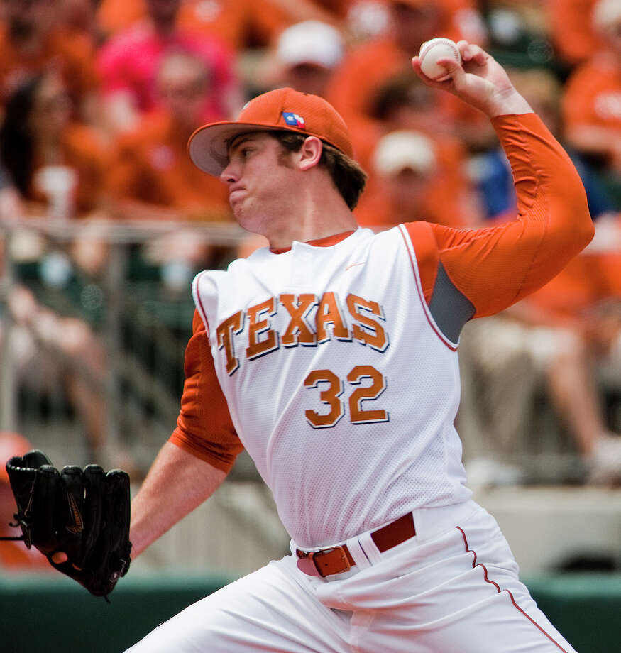 Texas pitcher Dillon Peters pitches against Texas A&M on April 29, 2012 at Disch-Faulk Field. Ashley Landis/Austin American-Statesman Photo: Ashley Landis / Ashley Landis