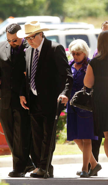 Parents Donnie and Linda Golden arrive to the funeral service for daughter Kala Marie Golden-Schucha