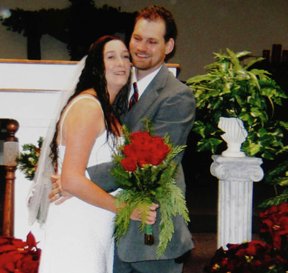 Provided photo of Keith Schuchard and his wife, Kala Marie Golden, of their wedding three years ago in December. Verna McClain, 30, was charged early Wednesday in the killing of Kala Marie Golden, according to the Montgomery County Sheriff's Office. McClain reportedly shot and killed Golden then abducted her son Keegan as they were on their way to a doctor appointment in Spring. (Houston Chronicle)