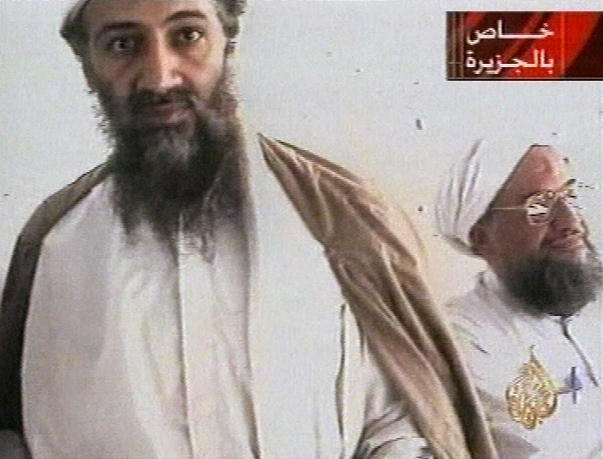 FILE - This undated image taken from video released by Qatar's Al-Jazeera televison broadcast Oct. 5, 2001, purports to show al-Qaida leader Osama bin Laden, left, and his top lieutenant, Egyptian Ayman al-Zawahiri. U.S. attempts to deliver a ?