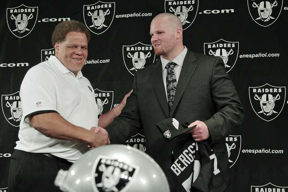 Tony Bergstrom, the first pick made by general manager Reggie McKenzie in 2012, has become a question mark to even make the team this summer. Photo: Paul Sakuma, Associated Press