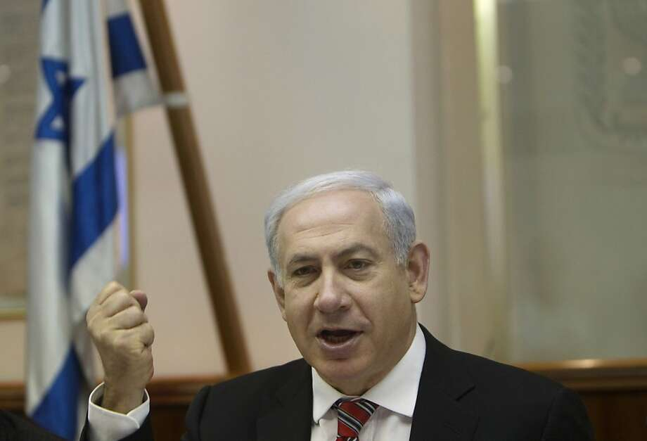 Israel's Prime Minister Benjamin Netanyahu attends the weekly cabinet meeting in Jerusalem Sunday, April 29, 2012. (AP Photo/Ronen Zvulun, Pool) Photo: Ronen Zvulun, Associated Press