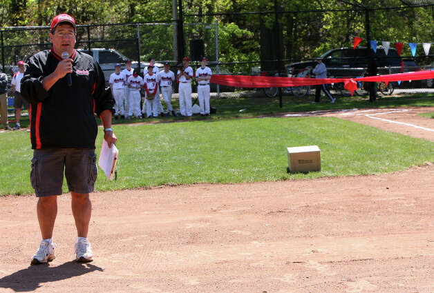 Little League Fairfield American president, John Sonigian, speaks at the league's opening day ceremonies at Gould Manor Park in Fairfield, Conn. on Sunday, April 29, 2012. Photo: B.K. Angeletti / Connecticut Post