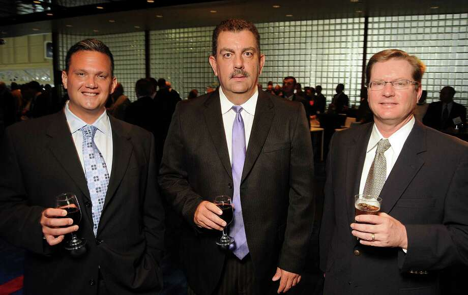 From left: Jason Celaya, Aldo Rodriguez and Keith Johnson at the OTC Annual Dinner at the George R. Brown Convention Center Sunday April 29,2012. (Dave Rossman Photo) Photo: Dave Rossman, For The Chronicle / © 2012 Dave Rossman