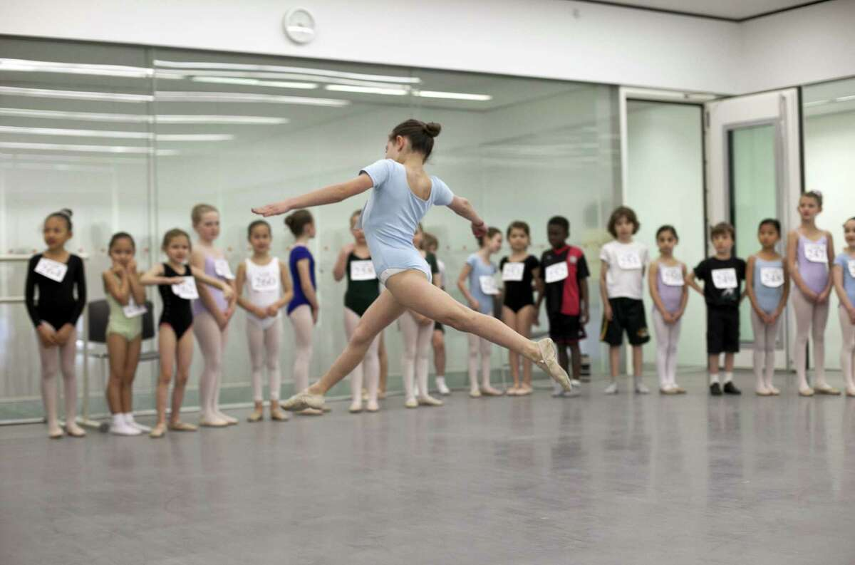 NEW YORK, NY - APRIL 27: A young girl auditions during tryouts for the School of American Ballet April 27, 2012 in New York City. The prestigious school has trained the majority of New York City Ballet's dancers as well as hundreds of dancers for other major ballet companies around the world.