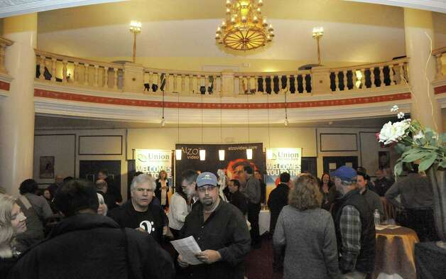 A crowd filled the lobby of the Palace Theatre in Danbury during the Connecticut Film Festival Sunday, April 29, 2012. Photo: Michael Duffy