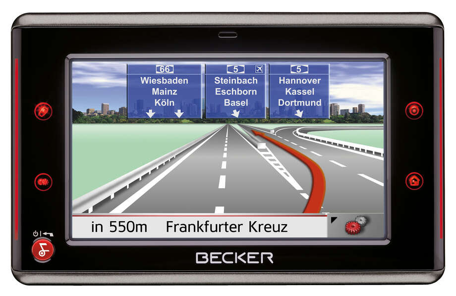 An auto GPS unit made by Becker, a German subsidiary of Stamford-based audio and infotainment equipment company Harman International. Photo: Contributed Photo, ST / Stamford Advocate Contributed