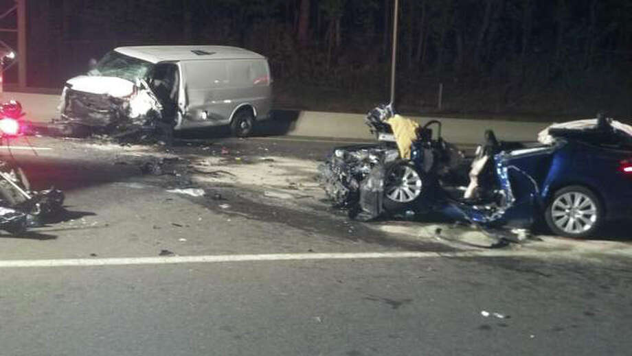 One person died and two others are hospitalized after a two-vehicle accident Saturday night, April 28, 2012 on Route 8. Police said a vehicle driven by William J. Baer Jr., 24, was traveling in the left lane while a second vehicle, driven by Edmundo Mendieta, 35, was traveling north in the southbound lanes. The vehicles collided head on. Baer was later pronounced dead at Waterbury Hospital. Photo: WTNH Report-It/Brett Desantis