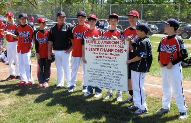 Fairfield American Little League 12-year-old 2011 state champions and New England region semi-finalists at dedication Sunday of the league's new fields in Gould Manor Park. Photo: Mike Lauterborn / Fairfield Citizen contributed