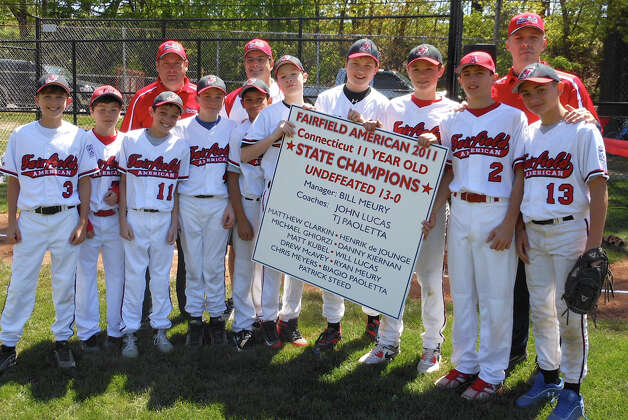 Fairfield American Little League's 11-year-old 2011 state champions, with an undefeated 13-0 record, at Sunday dedication of the league's new fields in Gould Manor Park. Photo: Mike Lauterborn / Fairfield Citizen contributed