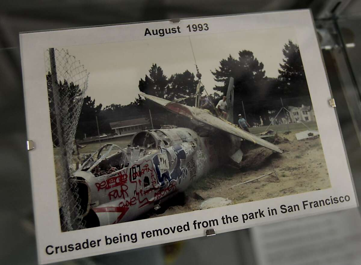 In the museum, a picture of the F-8 Crusader being dismantled for shipment to Santa Rosa, was taken in 1993. For decades, an F-8 Crusader fighter jet was a popular play structure at Larsen Park on 19th Avenue in San Francisco, Calif. The kid friendly plane was removed in 1993 and now is being restored at the Pacific Coast Air Museum in Santa Rosa.