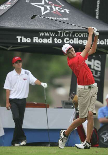 Fort Bend Travis Ryan Bell tees off on hole one during the first round of the Class 5A state golf to
