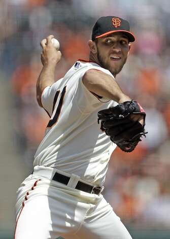 San Francisco Giants starting pitcher Madison Bumgarner throws to the San Diego Padres during the first inning of a baseball game in San Francisco,  Sunday, April 29, 2012. (AP Photo/Marcio Jose Sanchez) Photo: Marcio Jose Sanchez, Associated Press