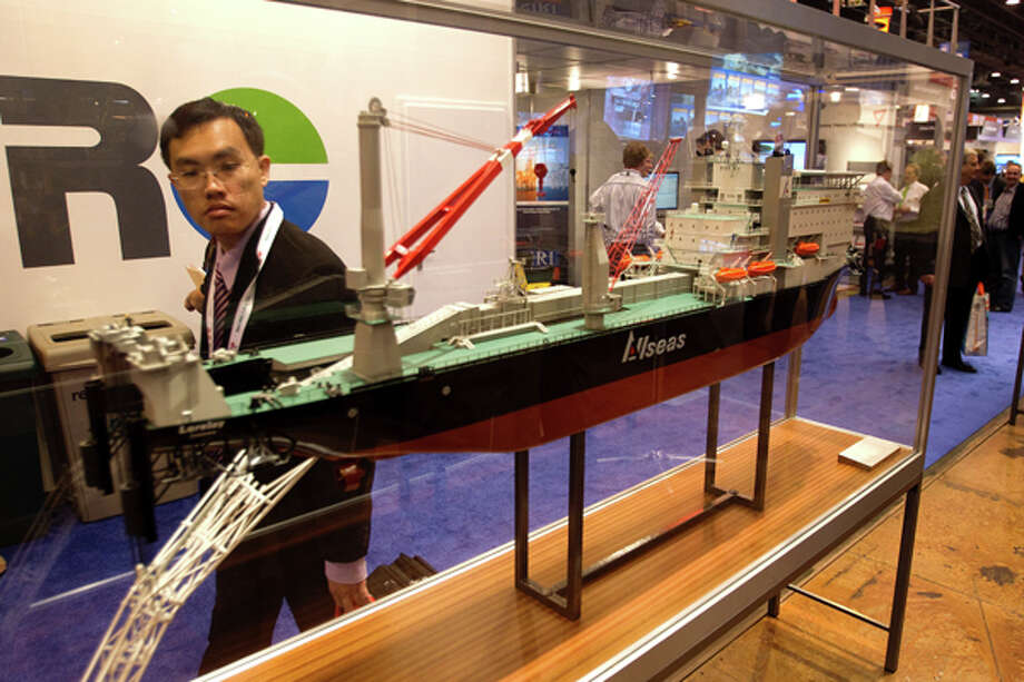 A model of an All Seas drill ship is on display during the 2012 Offshore Technology Conference Monday, April 30, 2012, in Houston. Photo: Brett Coomer, Houston Chronicle / © 2012 Houston Chronicle