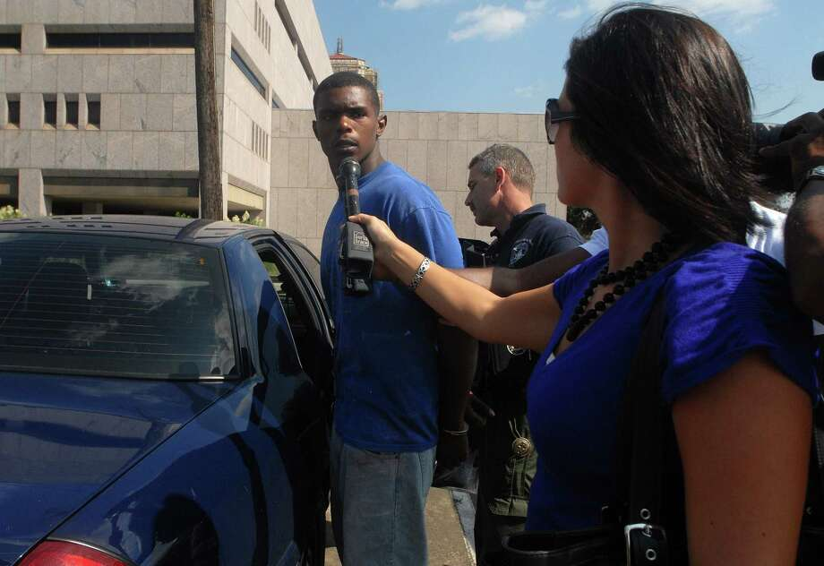 Marvin Ernest Lucien speaks briefly to reporters before he was taken to the Jefferson County Jail on Aug. 25, 2010. Lucien is charged in connection with the Aug. 1 fatal shooting of a Lamar University student. Beth Rankin/The Enterprise